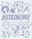 Нарисованный рукой комплект астрономии иллюстрация штока
