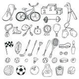 Нарисованный рукой комплект значка спорта вычисляет что пригодность несколько резвится детеныши женщины тренировки иллюстрация вектора