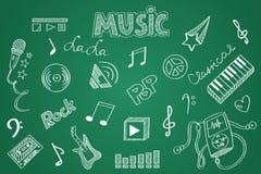 Нарисованный рукой комплект музыки Мел на классн классном Стоковое фото RF