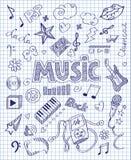 Нарисованный рукой комплект музыки Стоковое Изображение