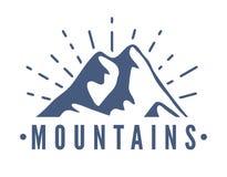 Нарисованный рукой комплект логотипа гор Значки вектора лыжного курорта, элементы силуэта горы Символы езды и сноубординга Стоковое фото RF