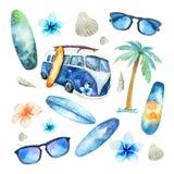 Нарисованный рукой комплект океана акварели занимаясь серфингом Праздник пляжа тропический бесплатная иллюстрация