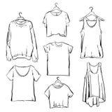 Нарисованный рукой комплект одежды женщины вектора План собрания моды Стоковая Фотография RF