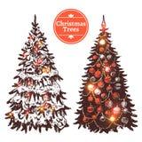 Нарисованный рукой комплект рождественской елки иллюстрация штока