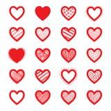 Нарисованный рукой комплект сердца вектора Стоковые Фотографии RF