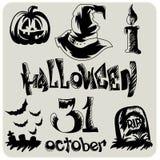 Нарисованный рукой комплект эскиза хеллоуина бесплатная иллюстрация
