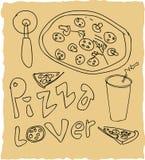 Нарисованный рукой комплект любовника пиццы Стоковые Фотографии RF