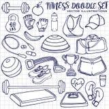 Нарисованный рукой комплект doodle фитнеса вектор изображения иллюстраций download готовый Стоковое Изображение RF