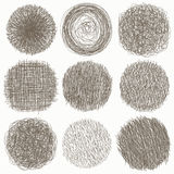 Нарисованный рукой комплект scribble кругов doodle, на белой предпосылке также вектор иллюстрации притяжки corel Эскиз, комплект  Стоковые Фото