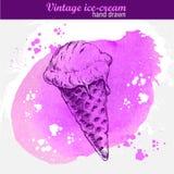 Нарисованный рукой конус мороженого Стоковые Фото