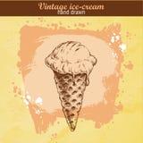 Нарисованный рукой конус мороженого Иллюстрация штока