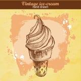 Нарисованный рукой конус мороженого Иллюстрация вектора
