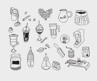 Нарисованный рукой кофе doodle эскиза винтажный простой иллюстрация штока