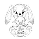 Нарисованный рукой кролик пасхи с paschal яичком Стоковые Фотографии RF
