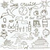 Нарисованный рукой круиз моря эскиза doodles иллюстрация вектора элементов перемещения и лета, на бумажной тетради иллюстрация вектора