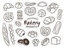 Нарисованный рукой набор продуктов хлебопекарни иллюстрация штока