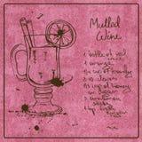 Нарисованный рукой обдумыванный коктеиль вина Стоковые Изображения RF