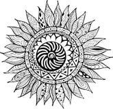 Нарисованный рукой орнамент солнцецветов zentangle для книжка-раскраски Стоковые Изображения RF