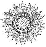 Нарисованный рукой орнамент солнцецветов zentangle для книжка-раскраски Стоковая Фотография RF