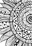 Нарисованный рукой орнамент солнцецветов zentangle для книжка-раскраски Стоковое Изображение