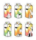 Нарисованный рукой пакет сока лета установленный Vector художнический арбуз иллюстрации, морковь, тыква, яблоко, груша, пить папа Стоковое Изображение