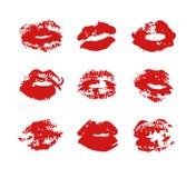 Нарисованный рукой поцелуй губной помады иллюстрации моды Женская карточка вектора с красными губами Стоковые Изображения RF