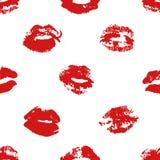Нарисованный рукой поцелуй губной помады иллюстрации моды Картина женского вектора безшовная с красными губами Романтичная предпо Стоковая Фотография RF