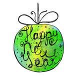 Нарисованный рукой плакат Нового Года акварели иллюстрация вектора