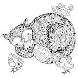 Нарисованный рукой спать кота плана doodle иллюстрация вектора
