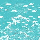 Нарисованный рукой стиль безшовного doodle фантазии японский Стоковые Изображения