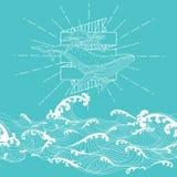 Нарисованный рукой стиль doodle фантазии безшовный, мать кита и икра стоковые фотографии rf