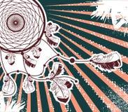 Нарисованный рукой стиль dreamcatcher коренного американца ретро Illu вектора Стоковое Фото