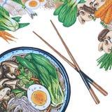 Нарисованный рукой суп лапши Soba бесплатная иллюстрация