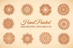 Нарисованный рукой установленный абстрактный орнамент предпосылки Стоковые Фотографии RF