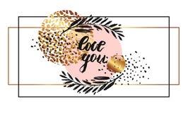 Нарисованный рукой шаблон карточки вектора с влюбленностью цитаты литерности вы Стоковое Фото