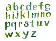 Нарисованный рукой шрифт красочного алфавита акварели каллиграфический Письма акварели Стоковое Фото