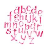Нарисованный рукой шрифт пинка акварели каллиграфический Письма акварели Стоковое Изображение