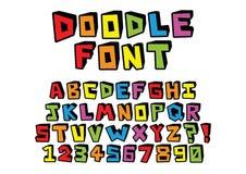 Нарисованный рукой шрифт doodle изолированный на предпосылке Стоковые Фото