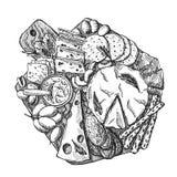 Нарисованный рукой эскиз вектора доски сыра Стоковая Фотография
