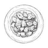 Нарисованный рукой эскиз еды Стоковые Фотографии RF
