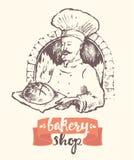 Нарисованный рукой эскиз магазина хлебопекарни человека хлебопека вектора иллюстрация штока