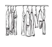 Нарисованный рукой эскиз шкафа Одежды осени Стоковое Фото