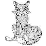 Нарисованный рукой эскиз boho лисы плана doodle Стоковые Фотографии RF