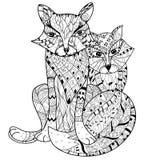 Нарисованный рукой эскиз boho лисы плана doodle Стоковое Изображение RF