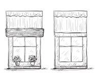 Нарисованный рукой эскиз Windows Стоковые Изображения