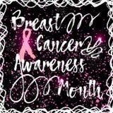 Нарисованный рукой элегантный знак месяца осведомленности рака молочной железы Стоковая Фотография RF