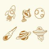 Нарисованный рукой элемент космоса doodle эскиза doodle Стоковые Фото
