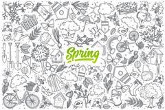 Нарисованный рукой doodle весны установленный с литерностью Стоковое фото RF