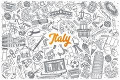 Нарисованный рукой doodle Италии установленный с литерностью Стоковое фото RF