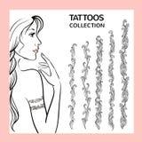 Нарисованный рукой doodle татуировки граничит собрание Стоковая Фотография